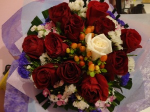 my special him sent a bouquet of flowers to school :D